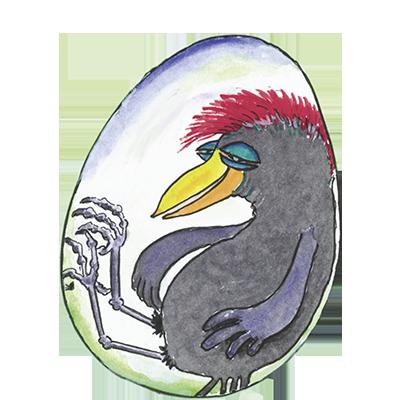 Ein Kuckuck gefangen im Ei